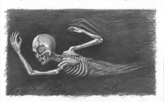 Another Lost Soul swims the Sea of Certain Death (ashley russell 676) Tags: graphtie pencil illustration ashley russell skeleton dark art horror hades hell drawing artwork lost soul river styx