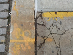 A17638 / underfoot on wooster street (janeland) Tags: newyorkcity newyork 10012 soho woosterstreet abstract may 2018 ongrey yellow underfoot concrete concretecanvas pavement