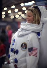 Future NASA astronaut! (PeterThoeny) Tags: california usa sanfranciscobay sanfranciscobayarea nasa astronaut astronautsuit kid child girl indoor sony a7 a7ii a7mii alpha7mii ilce7m2 fullframe vintagelens dreamlens canon50mmf095 canon 1xp raw photomatix hdr qualityhdr qualityhdrphotography fav50 sanmateo makerfaire space light bokeh