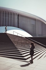Can you hear me ll ©ariane coerper (Stadtromantikerin) Tags: luxembourg philharmonieluxembourg conversation urban stairs architecture shadows fujixseries fujixphotographer fujifilm fujilove