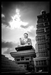 Breaking of the clouds (Lionel Davoust) Tags: shadow contrast bouddha statue taiwan monument sky light foguangshan blackandwhite buddhism dramatic