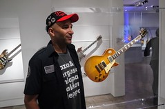 Tom With Jimmy Page Guitar (edenpictures) Tags: playitloud instrumentsofrockroll metropolitanmuseumofart themet exhibit exhibition show ledzeppelin jimmypage guitar musicalinstrument tommorello