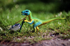 Dino at Work (piccolodiavolo) Tags: dinosaur schleich work toyphotography