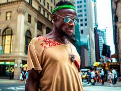 The New Yorkers - Crosswalk (François Escriva) Tags: street streetphotography us usa nyc ny new york people candid olympus omd photo rue sun light man colors sidewalk manhattan crosswalk sunglasses reflection style bandana look green red black buildings