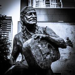 Willie (Jim Nix / Nomadic Pursuits) Tags: austin jimnix lx100 lightroom nomadicpursuits panasonic texas willienelson art blackwhite cityscape downtown monochrome sculpture