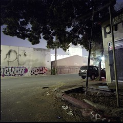 15th Street (ADMurr) Tags: la eastside night industrial streets hasselblad swc 38mm zeiss biogon fuji pro 400 6x6 square dba923