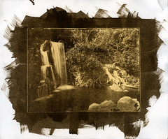 Waterfall Kallitype (Blurmageddon) Tags: largeformat 8x10 senecaimprovedview8x10 aristaortholitho dektol trayprocessed limekilncanyonpark kallitype alternativeprocess contactprint landscape