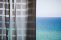 new perspective (*BegoñaCL) Tags: window sea mediterráneo horizon blue sky curtain square backlight view begoñacl