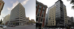 Before / After: Sherbrooke street (Vanishing Montréal) Tags: history villedemontreal montreal histoire photography art architecture demolition disappearinghistory newconstruction