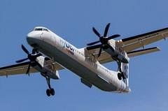 G-ECOT Flybe Bombardier Dash 8 Q400 @ Cornwall Airport Newquay, St Mawgan, Cornwall. (Sw Aviation) Tags: gecot flybe bombardier dash 8 q400 cornwall airport newquay st mawgan