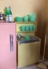 6. Kitchen corner (Foxy Belle) Tags: miniature doll dollhouse 112 scale kitchen pink aqua yellow plastic mod 1960s modern mid century food breakfast dishes retro chrome deluxe reading multicolor appliances flea market finds bargains vintage toy topper