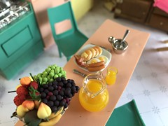 7. Barely touched (Foxy Belle) Tags: miniature doll dollhouse 112 scale kitchen pink aqua yellow plastic mod 1960s modern mid century food breakfast dishes retro chrome deluxe reading multicolor appliances flea market finds bargains vintage toy topper