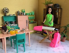 Ironing jitters (Foxy Belle) Tags: miniature doll dollhouse 112 scale kitchen pink aqua yellow plastic mod 1960s modern mid century food breakfast dishes retro chrome deluxe reading multicolor appliances flea market finds bargains vintage toy topper dawn 1970s angie brunette ironing board