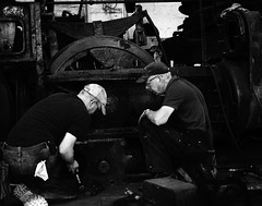 02469376422473-112-19-05-Working on the Train-4-Black and White (Don't Mess With Jim) Tags: ely nevada nevadanorthernrailwaymuseum southwest usa whitepinecounty history locomotive museum rail steam monochrome blackandwhite train work people