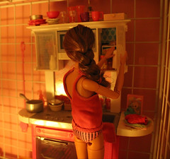 Midnight Cravings (Tee-Ah-Nah) Tags: barbie doll madetomove made move pregnant food cravings snack midnight kitchen underwear pajamas braid