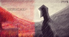 """Encounter"" A draw by Nick J (iliveforplay) Tags: balckandwhite colourfull digitalart dibujodigital rainyday rain encounter clash contrasted autumn paisaje landscape red"