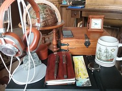 Awaiting the next Journey (rich_medrano) Tags: journal coffee mug antique globe headphones letter box clock wafercolor watch pens music sony md mh40