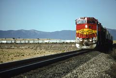 Santa_Fe_575_eb_with_intermodal_at_Willard_NM_KM_w_nikon_©BrianSolomon592731 (briansolomon.author) Tags: santafe santaferailway bnsf newmexico dash840bw b408w transcontinental transcon intermodal train railroad tracks piggyback kodachrome