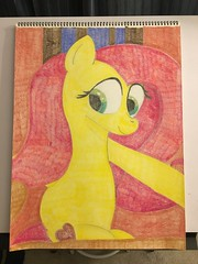 Fluttershy on the Bed (Big-Kid) Tags: alternatecutiemark bed coloredpencildrawing eye eyelashes eyes fluttershy heart holiday leg legs morning night pegasus pony safe solo thesuperspeedycidersqueezy6000 traditionalart valentine valentinesday wall window