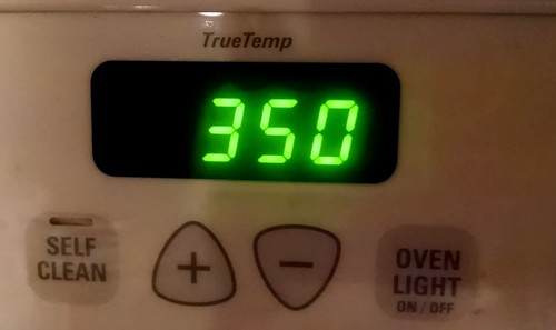 Oven timer at 350 degrees for preheating