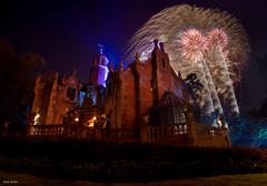 The Mansion and some Fireworks (mwjw) Tags: magickingdom disney disneyworld orlando florida night nightshot longexposure mwjw markwalter nikond850 rokinon12mm hauntedmansion hea happilyeverafter