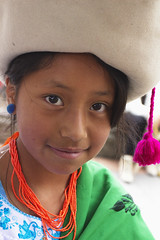 Young Girl in local dress, Cuenca (klauslang99) Tags: klauslang streetphotography portrait girl cuenca ecuador hat face