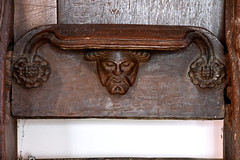 Highworth, Wiltshire, St. Michael's church, stalls, misericord (groenling) Tags: highworth wiltshire wilts england britain greatbritain gb uk stmichaelschurch choir stalls choirstalls wood carving woodcarving misericord face