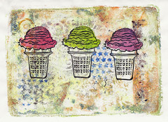 Ice Cream Mixed Media Print (lwdphoto) Tags: lance duffin lancewadeduffin lanceduffin icecream icecreamcone miniprint blockprint print printmaking ink art linocut stamp acrylic gelliprint gelli