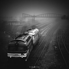 Black Misty (Brice L) Tags: brouillard mist fog brume train station gare rail railway