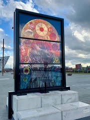 Glass of Thrones No. 6, between Titanic and Olympic Slipways (John D McDonald) Tags: iphone appleiphone iphonexr appleiphonexr belfast eastbelfast queensisland titanicquarter countydown codown down northernireland ni ulster geotagged glassofthrones gameofthrones stainedglasswindow stainedglass debrawenlock