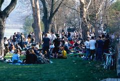 Danube shore party (lumpy79) Tags: pentax me smc 135 fuji provia 100f danube shore party smcpk135mmf35