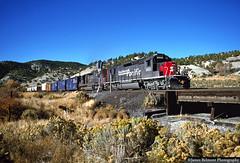 Mill Fork Trestle (jamesbelmont) Tags: southernpacific sd40t2 sd45r drgw riogrande millfork utah spanishforkcanyon train locomotive railroad railway trestle bridge