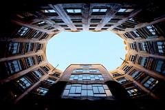 La Pedrera (Douguerreotype) Tags: sky city barcelona buildings symmetry urban gaudi spain catalunya architecture