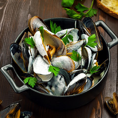 Portuguese-Style Mussels in Garlic Cream Sauce with parsley in a bowl. Delicious European meal on a table. Top view. (Castell Howell Foods Ltd) Tags: sauce cream seafood food white bowl cuisine restaurant sea meal mussel delicious cooked french clam background healthy dish bread fresh black gourmet table lemon traditional creamy fish appetizer plate pan mediterranean italian parsley steamed shellfish natural lowcalorie nonfat diet eat protein wooden seashell shell normande moules mariniere top view ukraine