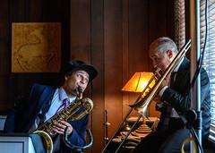 "20190519-Goode Wyche III & John ""Tbone"" Paxton at the Scarab Club (C E Andersen) Tags: tbonesoffice musicofeddiedurhamdannybarker pd9 scarabclub johntbonepaxton goodewycheiii detroitmi livemusic swing theblues jazz"