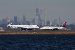 jetBlue Airways - Airbus A320-232 - N648JB - Hasta La Vista - jetBlue Vacations and Delta Connection (Republic Airlines) - Embraer ERJ-170SE (ERJ-170-100 SE) - N860RW - John F. Kennedy International Airport (JFK) - February 19, 2019 409 RT CRP (TVL1970) Tags: nikon nikond7200 d7200 nikongp1 gp1 geotagged nikkor70300mmvr 70300mmvr aviation airplane aircraft airlines airliners johnfkennedyinternationalairport kennedyairport jfkairport jfkinternational jfk kjfk bayswaterpark n648jb jetblueairways jetblue hastalavista jetbluevacations speciallivery thatswhatilikeaboutblue airbus airbusindustrie airbusa320 airbusa320200 airbusa320232 a320 a320200 a320232 internationalaeroengines iae iaev2500 v2500 v2527 v2527a5 n860rw deltaconnection deltaairlines delta republicairlines shuttleamerica embraer erj embraere170 e170 embraere170100 embraere170100se embraer170 embraer170se embraererj170 erj170 embraererj170100 erj170100 embraererj170100se erj170100se erj170se e170se generalelectric ge generalelectriccf34 gecf34 cf34 cf348e5 ejet jamaicabay runway4l
