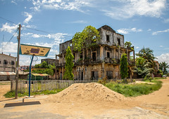 Old french colonial building formerly hotel de France in the UNESCO world heritage area, Sud-Comoé, Grand-Bassam, Ivory Coast (Eric Lafforgue) Tags: abandoned africa ancient architecture badcondition buildingexterior builtstructure city colonial colonialbuilding colonialstyle colonization colourimage côtedivoire cultures day decline downtowndistrict french ghosttown grandbassam history horizontal hotel house ivorycoast ivory2866 nopeople old oldruin oldfashioned outdoors photography régiondeslagunes retrostyle ruined rundown sudcomoé tourism town travel traveldestinations tree unescoworldheritagesite westafrica