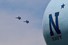 The Blue Angels Are Back In Town (Piedmont Fossil) Tags: annapolis maryland blueangels aircraft navy jet fighter airplane plane f18 hornet airshow naval academy commissioningweek watertower