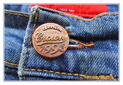 the metal button :) (green_lover (your COMMENTS are welcome!)) Tags: button jeans numbers letters lookingcloseonfriday macro frame textile cloth round