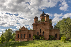Abandoned Church. (Oleg.A) Tags: grass spring penzaregion russia church hill orange clouds summer tree orthodox style cross ruined shadow building sunset old brick outdoor rural evening abandoned ancient countryside blue colorful cathedral dome sunny green belogorka design sun skyscape exterior sky architecture field
