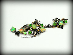 Opal and Green Diopside (tangocatgems1) Tags: tangocatgems opal pendant chrome diopside silver