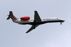 G-SAJU LOGANAIR EMBRAER ERJ-135 FROM FRONT GARDEN (toowoomba surfer) Tags: jet aeroplane aviation aircraft airline airliner ncl