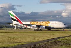 Emirates Airlines A6-EOA (Scottish Photography Productions | David Pollock) Tags: emirates airlines airbus a380 super jumbo a6eoa glasgow abbotsinch international airport scotland orange expo 2020 dubai ek 025 026 027 028 special livery