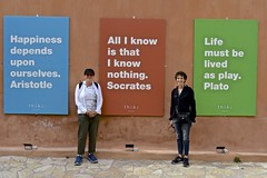 Suzanne, Peg, signs, Athens, Greece, (David McSpadden) Tags: athens greece peg philosophers quotes signs suzanne