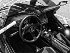 SLINGSHOT SLR | Three-Wheel Sport Vehicle | Driver's View (steveartist) Tags: slingshotslr vehicles 3wheeledvehicles hybridmotorcycles iphonese snapseed interiorview monochromaticimage