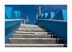 BLUE BAG (Barry Haines) Tags: blue bag sony a7r2 a7rii zeiss distagon 25mm loxia bude beach steps