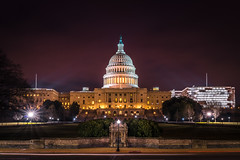 The US Capitol Lit Up (John Brighenti) Tags: washington dc districtofcolumbia us capitol nationalmall longexposure night evening sky clouds lights sunstars city urban town center sony alpha a7rii ilce7rm2 bealpha sonyshooter landscape cityscape architecture monuments street road cars dome legislature government freedom grass lawn