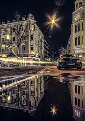 In the mirror (Norbert Clausen) Tags: night nacht spiegelung puddle pfütze city stadt