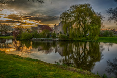 one evening in Spring (stevefge) Tags: 2019 beuningen water lente sunset landscape trees bomen shadows reflections gold golden houses pond cloud wolken sunbeams evening gelderland nederland netherlands nl nikon nederlandvandaag reflectyourworld