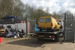 Recovering the Yellow Peril from Suffolk (kitmasterbloke) Tags: austin maestro van commercialvehicle britishleyland restoration classic pickup outdoor transport uk essex royalmail britishtelecom
